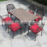 Patio outdoor furniture cast aluminum dining sets with marble table.