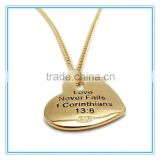 GOLD STAINLESS STEEL HEART W/CROSS CUT OUT NECKLACE                                                                         Quality Choice