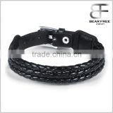 Fashion Multistrand Genuine Leather City Boy Classic Belt Bracelet Wristband for Men Black