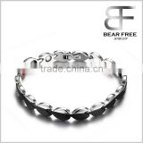 Stainless Steel Black Heart Shaped Negative Ions Germanium Far Infrared Magnetic Stone Health Care Bracelet for Women