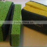 natural cellulose sponge with scouring pad for car kitchen clean
