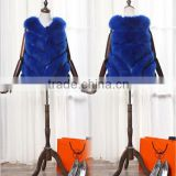 Stylish mink fur vest blue fox fur vest for women