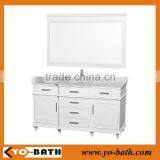 "60"" white traditional bathroom vanity with marble countertop"