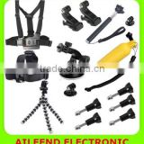 for GoPro HERO4 /3+ /3 13 in 1 Chest Belt + Wrist Belt + Head Strap + Floating Bobber Monopod + Screws + Suction Cup Mount Set