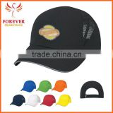 Chinese Supplier Ployester Black Baseball Cap With Reflective Sandwich Visor Hat