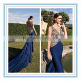 Royal blue V-neckline Embroided Mermaid Long train evening dress evening gown vestido de noche (YASA-810)