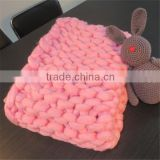 pink hand made chunky wool Bulky Knit Throw