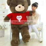 birthday valentine festival gift grey and brown big size plush teddy bear toy doll with red love stripe cloth
