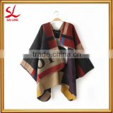 Authentic European Lady's Blanket Cape Poncho Plaid Cozy Checked Tartan Large Pashmina Cashmere
