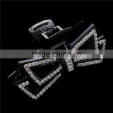 Latest Design Hair Clip Daily Jewelry Rhinestone Piercing Multi Layer Black Crystal Bow Hair Claw Head Clamp Accessory For Women