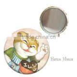 Custom tinplate button mirror with beautiful printing , tin pocket mirror , tin makeup mirror for promotion gift