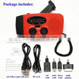 Portable Solar Power Hand Crank AM/FM Dynamo Radio+ LED Flashlight+Phone Charger