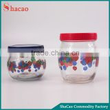 Grape Fruit Decal Printing Set Of 2Pcs Storage Food Glass Jar With Lid