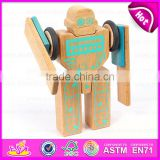 3D Construction set small flexible magic wooden robot,Educational Toy Wooden Robot Kit for children W03B046