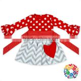 Heart Print Valentines Day Girls Dress With Sash Long Sleeve One Piece Dress 0-6 Years Old Baby Girl Party Frocks