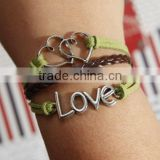 heart to heart bracelet, love with green flocking leather,brown baided Leather bracelet, friendship charm bracelet
