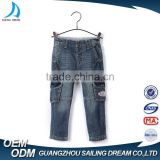 High quality multi pocket organ bag style embroidery patch 100% cotton oem baggy jeans for children