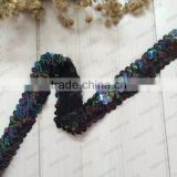 stretch sequin trim bay girl hair sequin accessories beaded 3 row sequin fabric braided lace belt