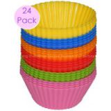 Non Stick Silicone Cupcake Cups 24 Pack - Rainbow Bright Standard Silicone Reusable Heat Resistant Baking Cups - Cupcake Molds  Liners - 24 Count