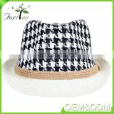Latest style fashion gentlemen design jacquard weave summer beach sun fedora man straw hat