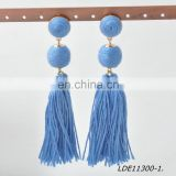 Gray and light blue doubble tassel pendant daggle earring gold thread wrapped hand-made charm earrings