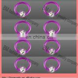 titanium plated ball closure rings with gems nose ring lip ring earrings body piercing jewelry rings in pink