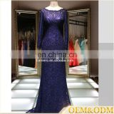 2016 bridesmaid long sleeve navy blue wedding dress