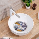 Round shape countertop ceramic bathroom sanitary ware bowl sink with decal