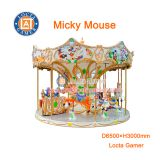 Zhongshan hot sale amusement park Micky Mouse Carousel 12 seat Merry go round, new and high quality earn money, for kids