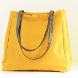 yellow canvas shoulder bag for woemn with tote handle