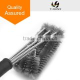 BBQ Stainless Steel Grill Brush/18inch 3-Sided Long with Hanging Loop washing heavy Duty brush