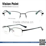 Fashion metal material half-rim 2014 latest design optical spectacle eyewear frames for men with spring hinge