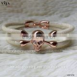 2016 Fashion Jewelry Luxury White Stingray Skin Bracelet With Stainless Steel Rose Gold Metal, Genuine Stingray/ Python Leather