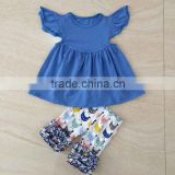 High quality chicken printed girls boutique clothing kids clothes baby blue girls decorative outfit
