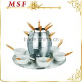 MSF-3568 24pcs stainless steel fondue set stainless steel durable fondue pot ceramic fondue bowl