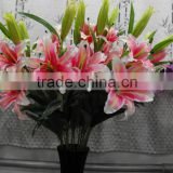new products silk artificial three heads pink calla lily flower
