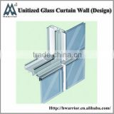 Aluminum unitized curtain wall with trong structure