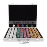 1000 14 GRAM A/K Tri Color Clay Poker Chips in Aluminum Case, Choice of 9 Colors