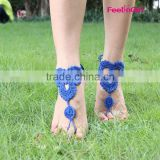 Wholesale 100% Cotton Wedding Crochet Barefoot Sandals For Girls