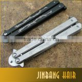New Arrival Pro Salon Stainless Steel Folding Practice Training Butterfly Balisong Style Knife Comb Tool Carved Double Dragon