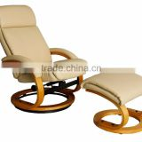2016 Morden design living room recliner chair / 360 degrees swiveling bentwood base / leisure leather chair