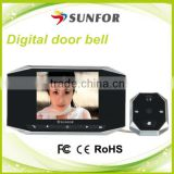 3.5 inch high definition video recording peephole digital door viewer camera , door security camera