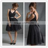 2013 Lastest Designer Sexy Black Lace Backless Straps Short Party Dress Bridesmaid Dresses MLB-222