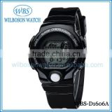 Waterproof black color silicone rubber band digital watch