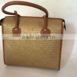 Gold seagrass plant beach bag with leather handle from Vietnam