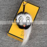 New Arrival Mink Fur Monster Owl Bugs Pom Pom Doll Ball Key Ring/ Keychain /Bag Charm/ car pendant
