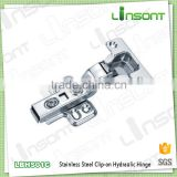 Good quality hydraulic clip on stainless steel spring hinge furniture assembly hardware conceal hinge