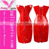 New Fashion Red Long Corsets Dress Lace Up Corset Black Red Corset Dress Party Leather Corsets Dress