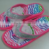 hot selling fancy gliter beach summer eva slippers for girls with fancy leopard printing