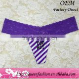 High quality Regular Ladies Style plain Cotton crossover Lace Women thong For Females